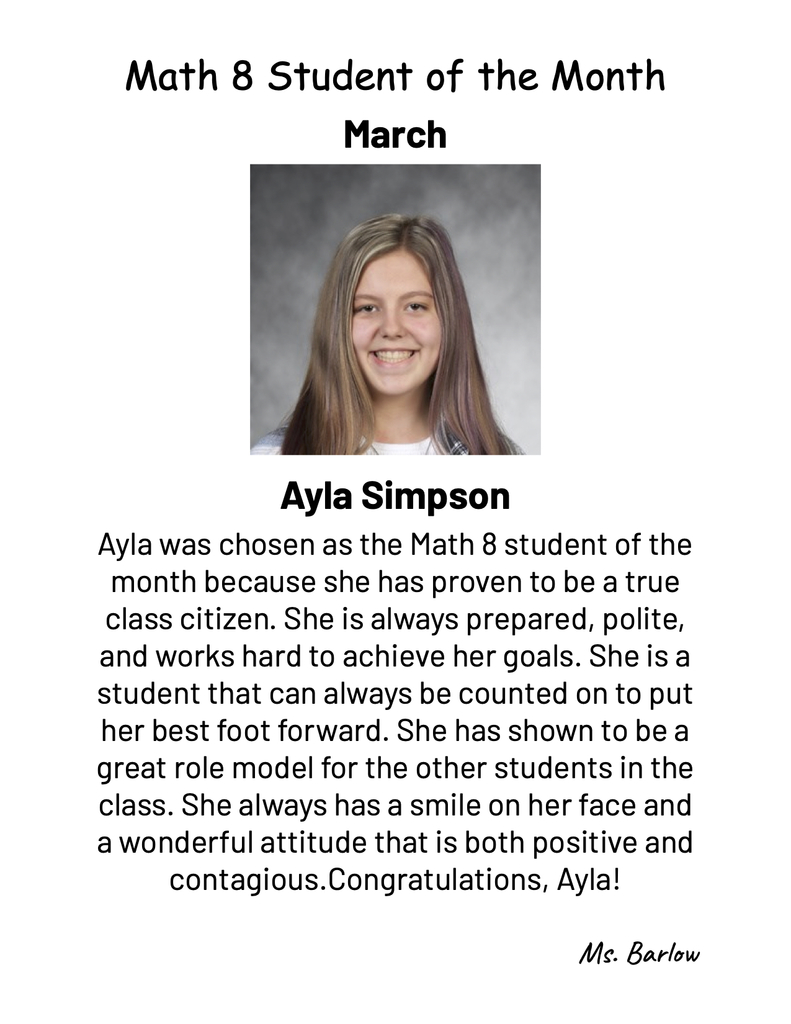 March Student of the Month in Math 8