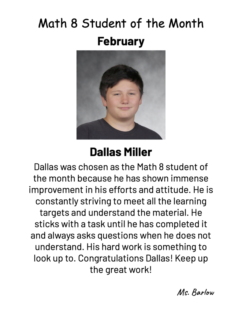 February student of the month in math 8