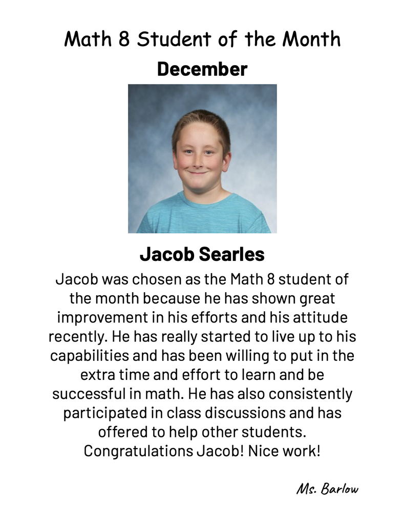 December Student of the Month in Math 8