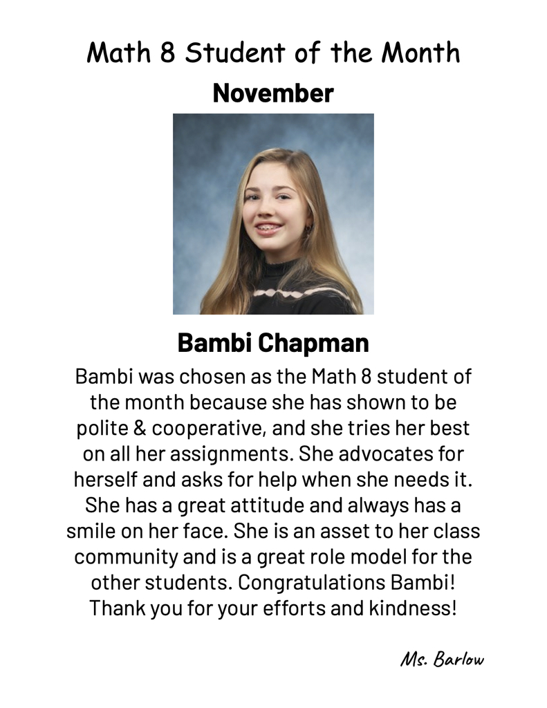November student of the month in math 8