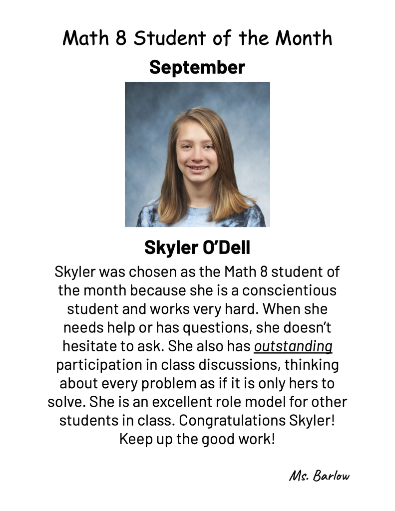 September student of the month in math 8
